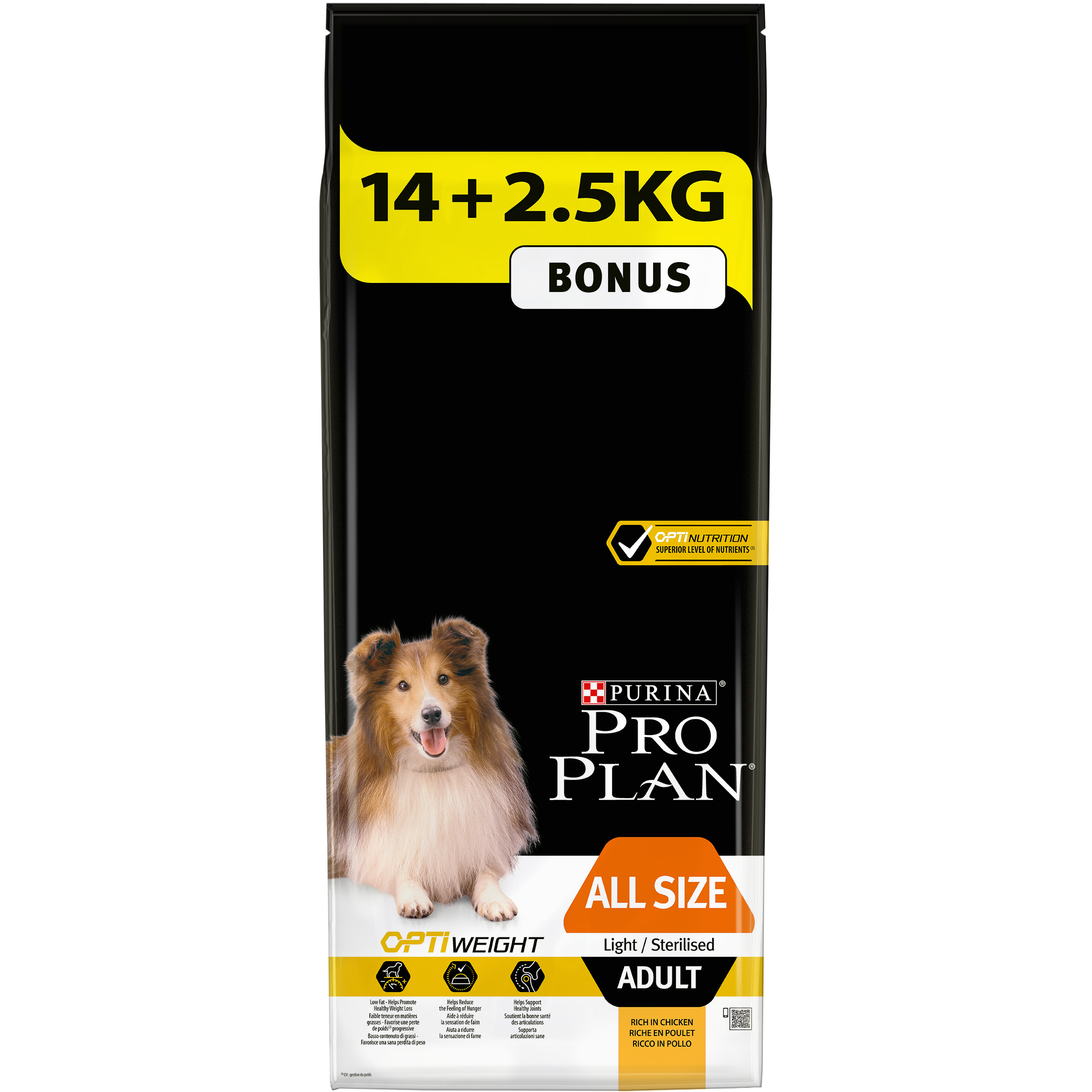 PRO PLAN Dog All sizes Adult Light/Sterilised  14 + 2,5 KG -